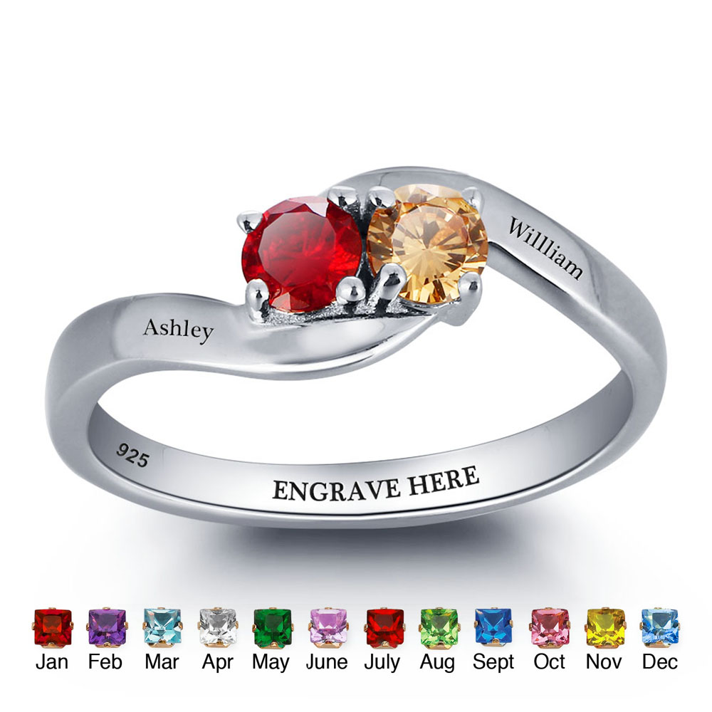 Personalisierte Ringe 925 Sterling Silber Birthstone Ringe weibliche Gravur Name Schmuck beste Geschenk für Mama (RI101791)