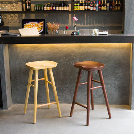Bar Chair Furniture Commercial Solid Wood Creative Stools Restaurant High