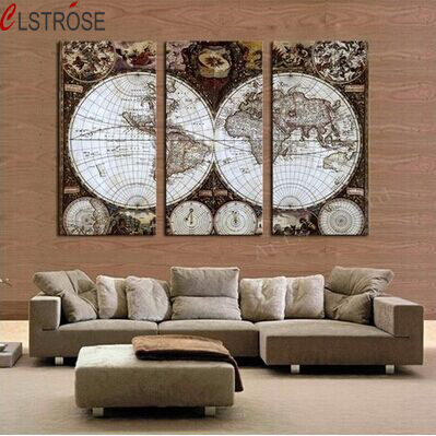 Clstrose Rushed 3 Pieces Canvas Wall Art Hd World Map Vintage Painting Modern Office Artwork Of Paintings Home Decor In Calligraphy From