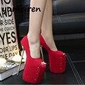 23 см красный свадебный обувь женская каблуки сексуальные насосы партия обуви для женщины насосы платформы женщин туфли на каблуках открытым носком на высоком каблуке X135