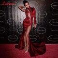 Sexy Aberto Frente Vestido Do Tapete Vermelho Mangas Compridas Sereia Vestido Formal com Apliques Dividir Vestidos de Celebridades Vestidos de Noite