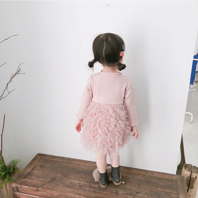 2019 Cotton Long Sleeve Knitted Kids Dresses For Girls Toddler Clothing Baby Girl Drees Tulle Patchwork Grey Pink White Spring 13