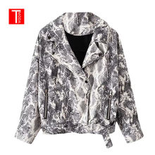 Autumn 2018 Snake Print Jacket Women Punk Snakeskin Fall Coat Zipper Biker Motorcycle Streetwear Outwear(China)
