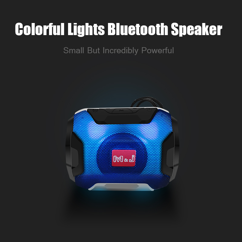 m&j mini wireless bluetooth speaker with led tf support usb sub woofer and mp3 stereo audio music player