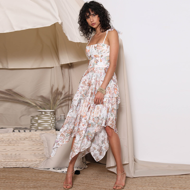 2019 Designer Summer Dress Women Sexy Floral Print Spaghetti Strap Irregular Midi Dress Female Party Holiday Dress vestido playa image