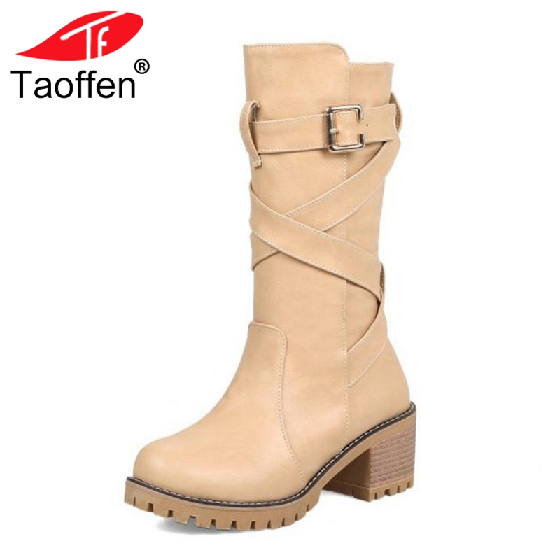 TAOFFEN Size 34-44 Women Winter High Heels Boots Buckle Warm Fur Shoes Woman Cross Strap Mid Calf Boots Platform Punk Shoes taoffen women genuine leather flats snow boots women metal buckle mid calf boots warm fur shoes for women footwears size 34 39