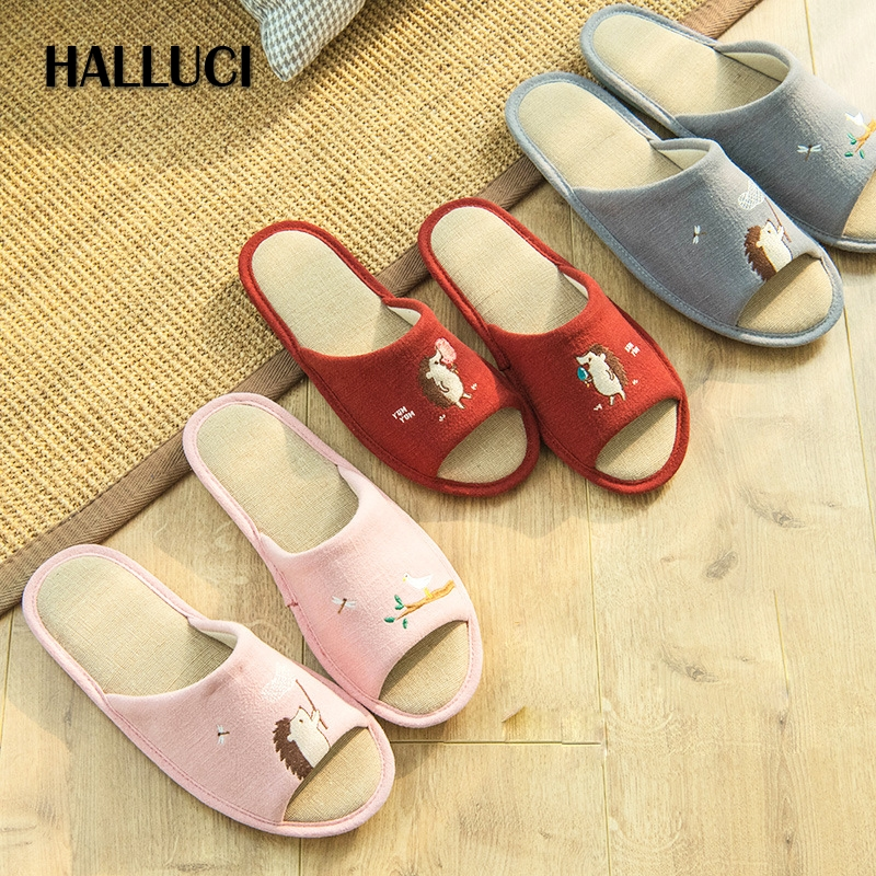 Hedgehog embroidery home slippers women shoes mules couples slides zapatos mujer peep toe pantufa platform shoes chinelo