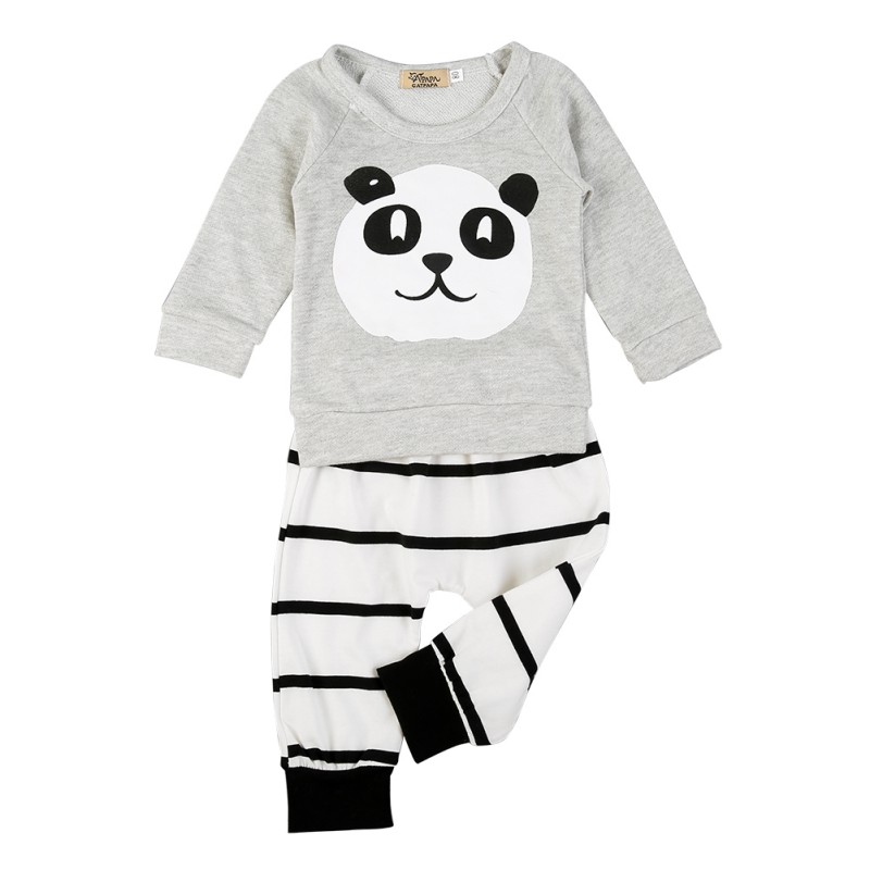Infant Baby Boys Panda Pattern Cotton Outfits Set Long Sleeve Shirt +Striped Pant 0-18M