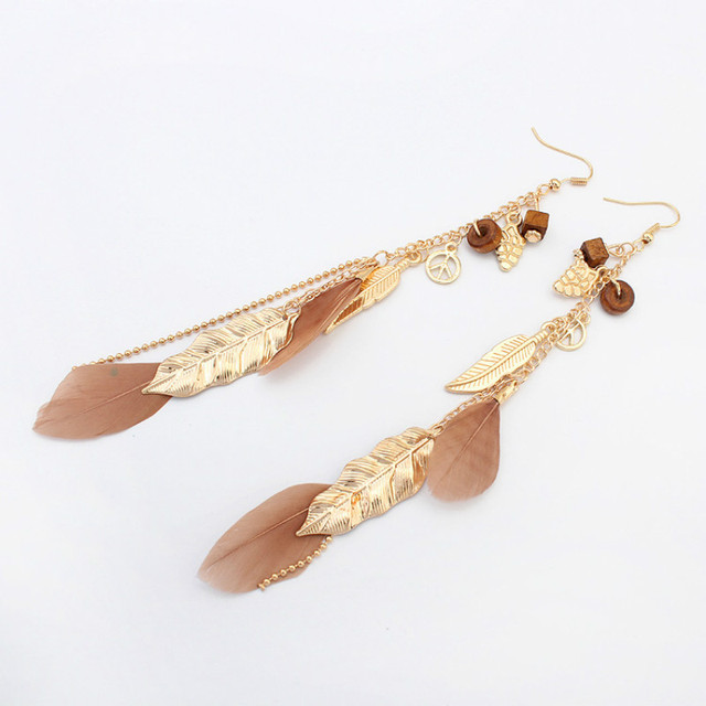 Four Colors (black, blue, white, brown) Feather Dangle Earrings