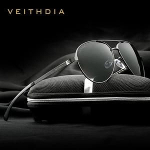 Image 1 - VEITHDIA Fashion Brand Designer Aluminum Magnesium Mens Sun Glasses Polarized Mirror lens Male Eyewear Sunglasses For Men 3801