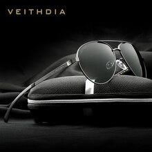 VEITHDIA lunettes de soleil polarisées pour hommes, lunettes de soleil de marque à la mode, en aluminium magnésium, verres miroir, lunettes pour homme