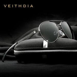 Image 1 - VEITHDIA lunettes de soleil polarisées pour hommes, lunettes de soleil de marque à la mode, en aluminium magnésium, verres miroir, lunettes pour homme