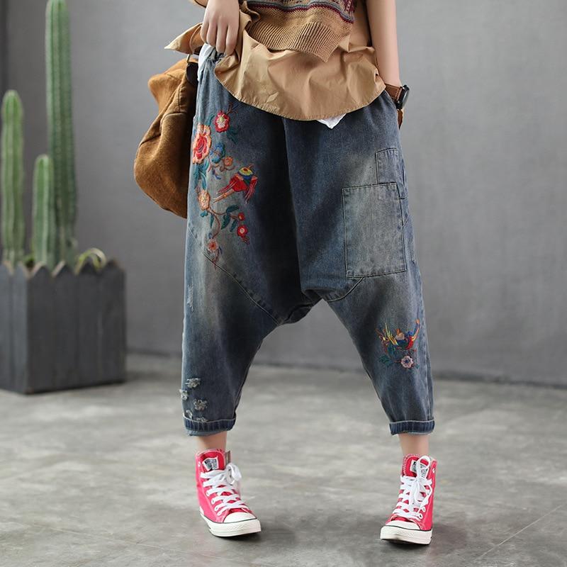Femme début du printemps taille élastique baggy pantalon femmes neuf minutes broderie jeans haroun pantalon fille entrejambe pantalon