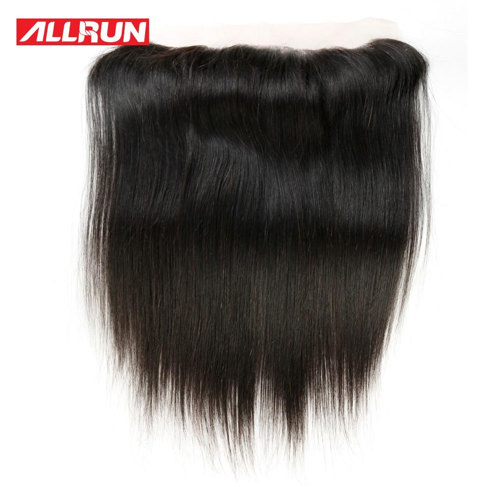Allrun 13 * 4 귀에 귀에 레이스 정면 브라질 - 인간의 머리카락 (검은 색) - 사진 2