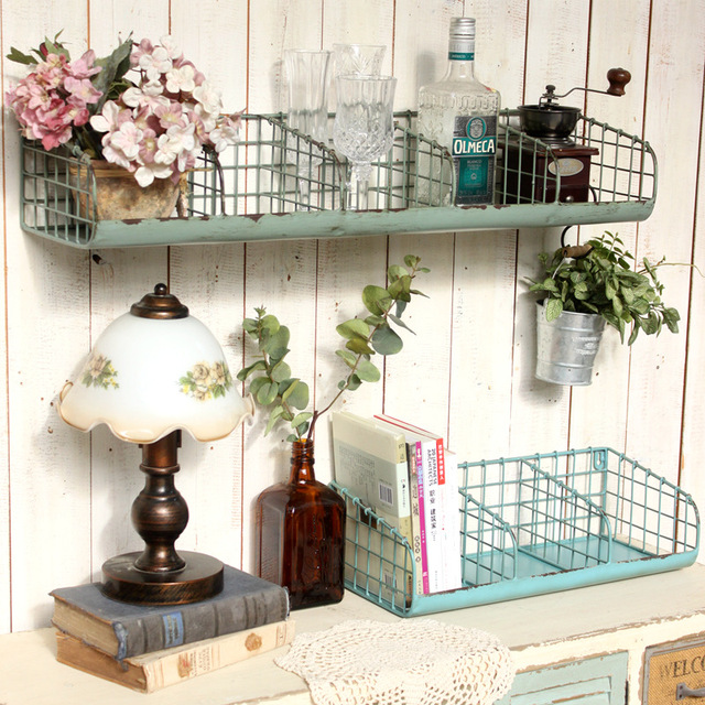 Superb Vintage Loft Rustic Distressed Green Divided Metal Wire Wall Hanging  Storage Shelf