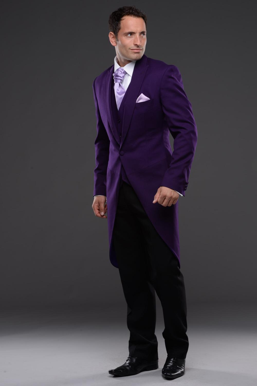 Morning Style One Button Purple Groom Tuxedos Groomsmen Men's Wedding Prom Suits Bridegroom (Jacket+Pants+Vest+Tie) K:601