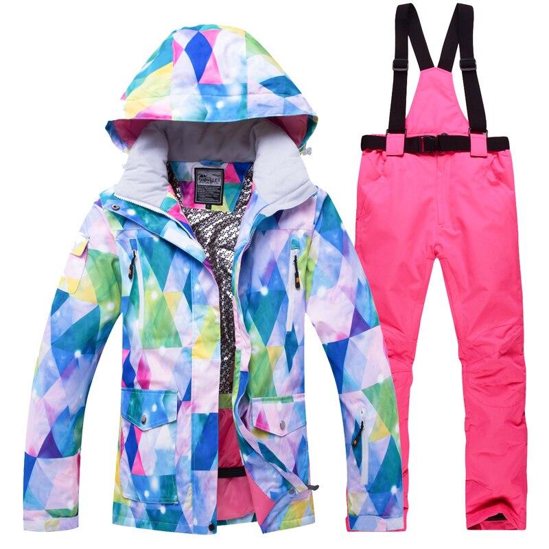 2018 зимняя куртка для снежной погоды Для женщин лыжный костюм женский Куртка для снежной погоды и штаны ветрозащитные Водонепроницаемый кра...