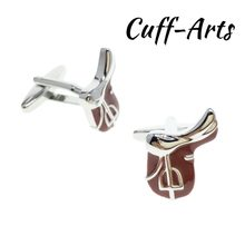 Cuffarts Horse Riding Saddle Equestrian Cufflinks 2018 Mens Sport Cuff Jewelery Light Mens Gifts Vintage Cufflinks C10151(China)