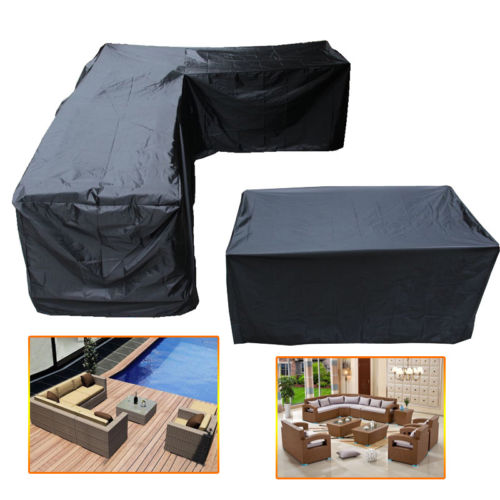Waterproof Outdoor Furniture Cover L Shape Corner Garden Patio Rattan Sofa Couch Protective Covers Set Dust Proof Set 4 Size XL