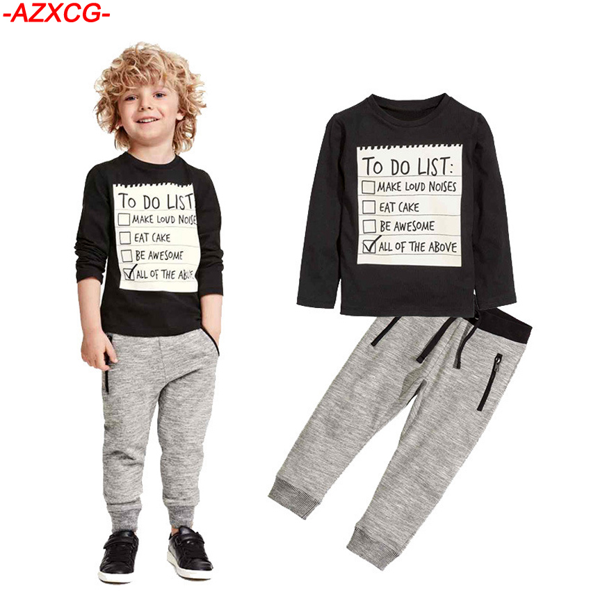Baby Boys Clothes Set Kids 2Pcs Letter Printed Sport Suit Boy Cotton Long Sleeve T-shirt +Pants Tracksuit Children Clothing high quality branded boys t shirts children clothing baby t shirt kids clothes long sleeve striped cotton baby boy t shirt