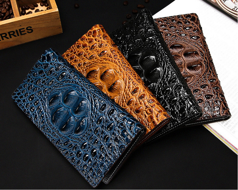 Hot Sale Genuine Leather Men Wallets Crocodile Pattern Long Design Men's Wallet Multi-functional Clutch Bags Coin Purse 1201# feidikabolo new arrive men wallets male crocodile long clutch wallets design wallet coin pocket for men alligators leather purse