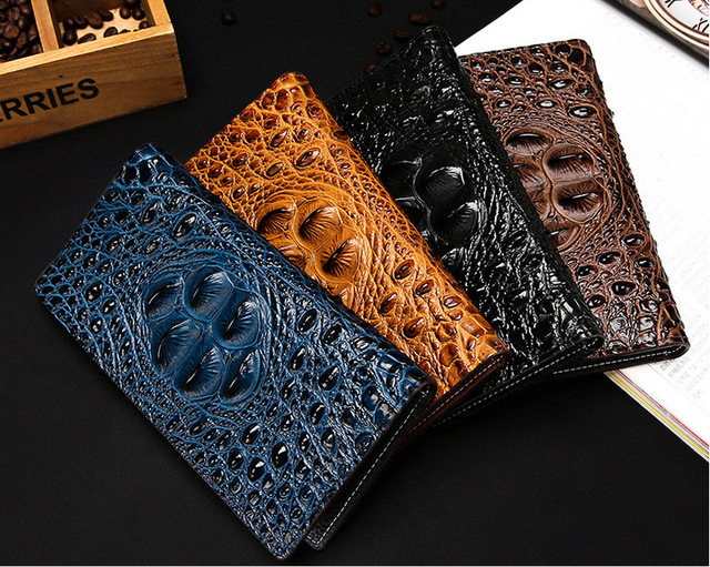 Crocodile Pattern Long Design Men's Wallet