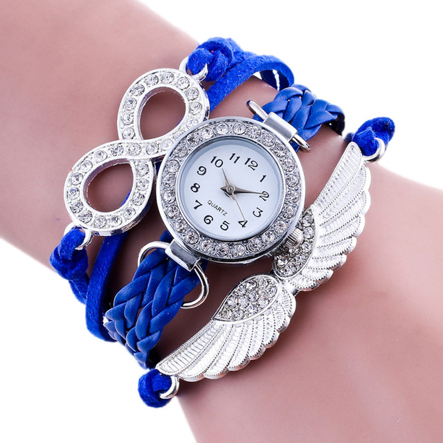 New Fashion Women Watches Wing Wrap Around Bracelet Watch Synthetic Leather Chai