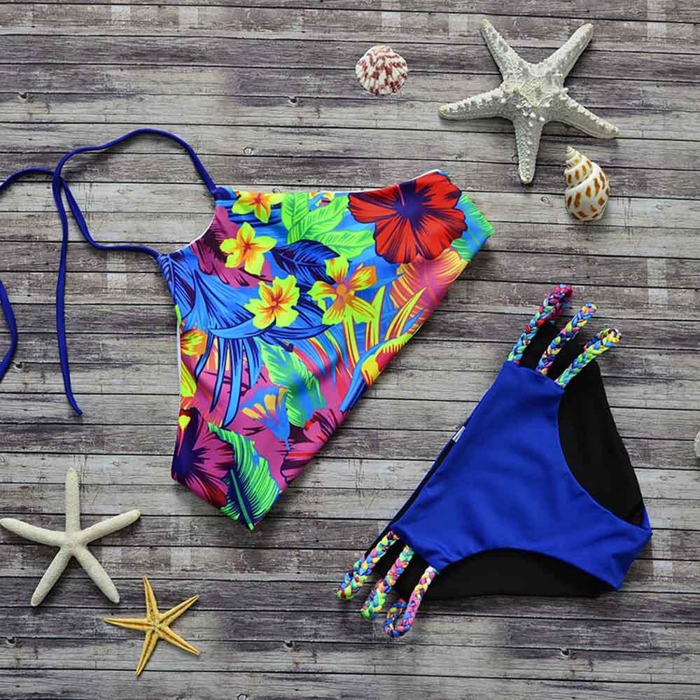 tumblr bikini high waist swimsuit print high neck bikini ...