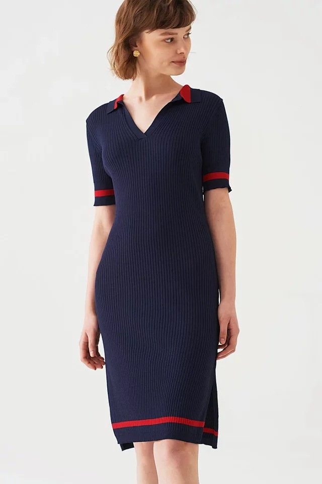 Women Dress 2019 New Color Matching POLO Collar Dress