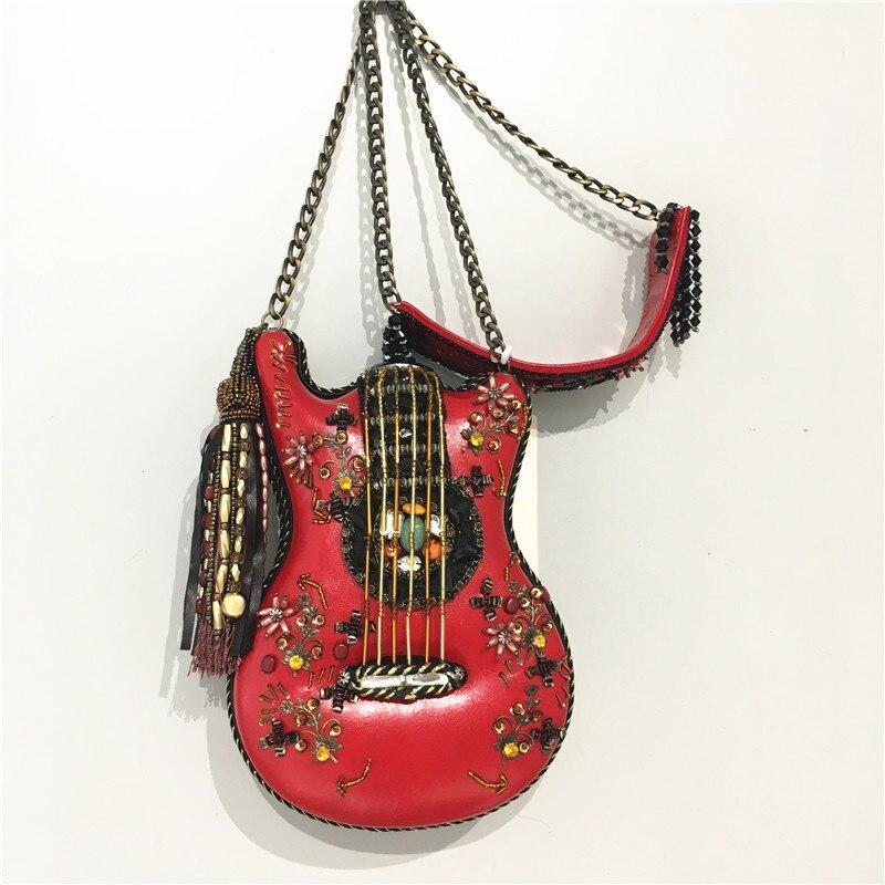 Style tout La Fourre see Main Amilya Vedette Chart Chaîne Guitare Perlé Femmes Forme Sac De Chart Violon Épaule See Véritable Des À xwOqfTfYa