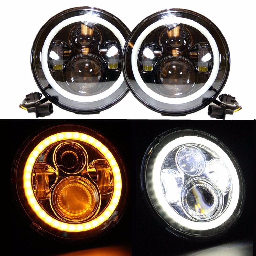 "Фотография 7inch LED Halo Headlights Kit 7"" LED Headlight H4 Hi/low Auto Headlight With Angle Eye For Jeep Wrangler JK TJ"