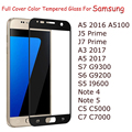 Full Cover Tempered Glass For Samsung Galaxy A5 A7 2016 S7 S6 J5 Prime A3 A5 2017 C7 C5 Note4 Note5 Color Screen Protector Film