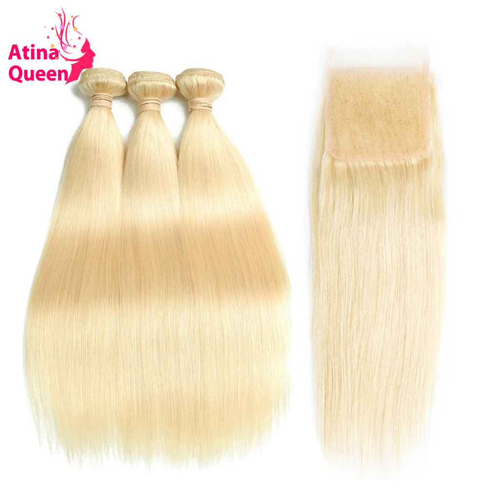 Atina Queen Hair Products 613 Blonde 3 Bundles with Closure 4 4 Straight Lace Closure 100