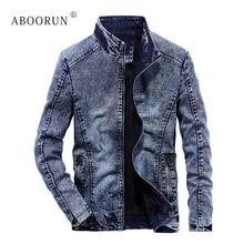 ABOORUN модные Для мужчин зимние Джинсовые куртки из плотного флиса лоскутное двигателя куртки Для мужчин ретро теплое пальто Верхняя одежда x1347