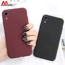 Moskado Case For iphone XR XS Max XS For iphone 6 6s 7 8 Plus 5 SE Candy Color Phone Case Simple Solid Color Soft Silicon Cover(China)