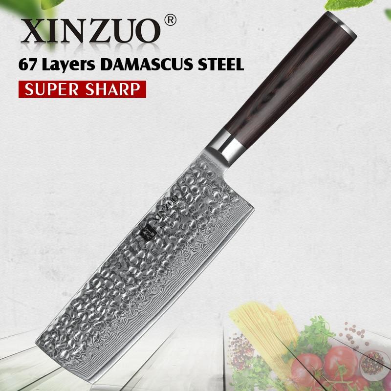 """XINZUO 6.8 """"بوصة الساطور سكين اليابانية دمشق الصلب VG10 سكاكين المطبخ العلامة التجارية الجديدة الصينية الشيف السكاكين Pakka الخشب مقبض-في سكاكين مطبخ من المنزل والحديقة على  مجموعة 1"""