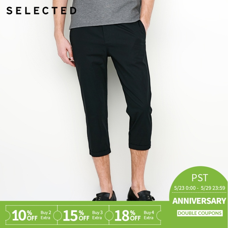 SELECTED  cotton turn-up straight-leg business leisure chopped pants S|4182W2521