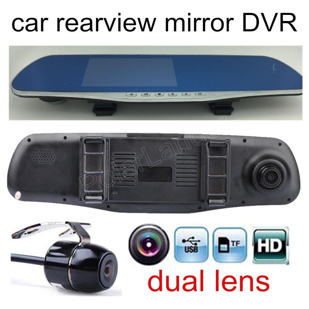 Haute qualité 4.3 pouce Voiture DVR Examen Miroir Double objectif objectif FHD 1080 P voiture vidéo enregistreur comprend arrière caméra parking caméscope
