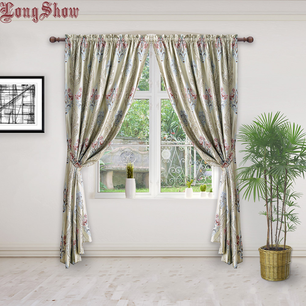 Modern gold color thick jacquard blackout curtains for - Black and gold living room curtains ...