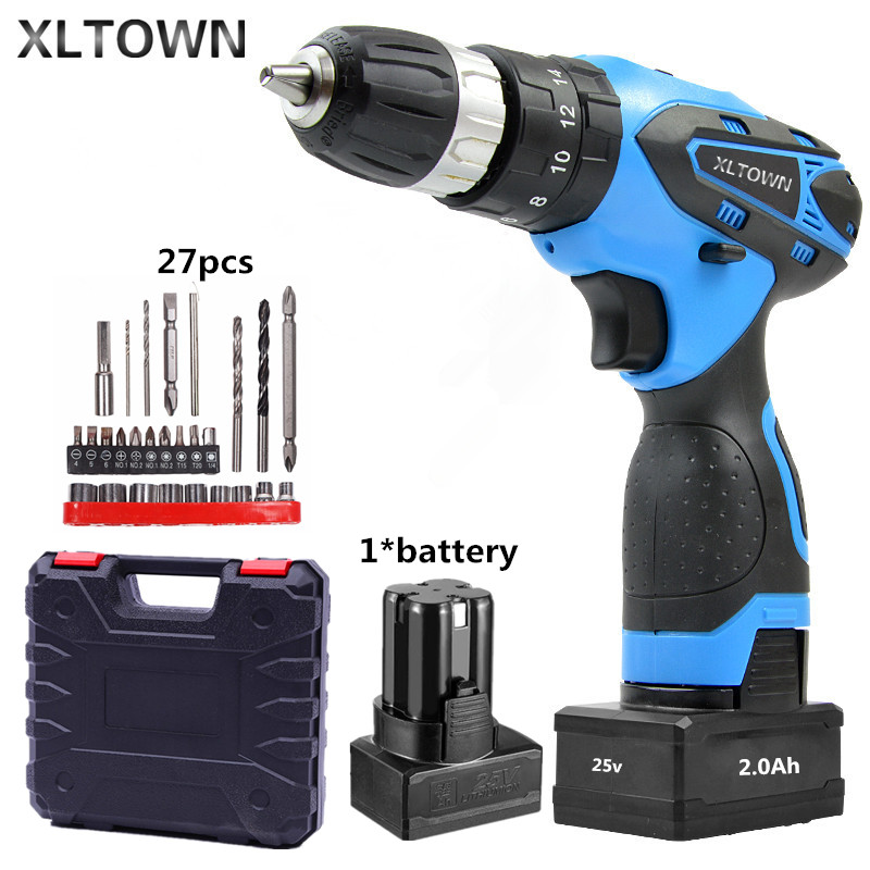 XLTOWN 25V 2000mA Impact Drill with bits Rechargeable Lithium Battery Multifunction Electric Screwdriver Household Power Tools xltown 25v 2000ma impact drill with bits