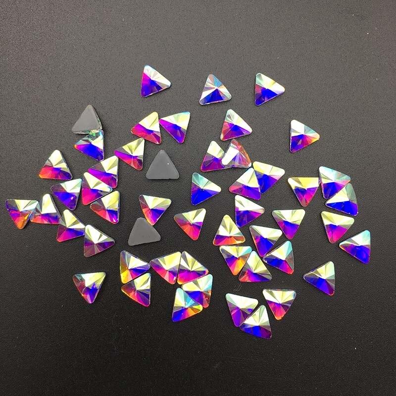 DIY New Gilding Diamond Crystal Color Flat Bottom Rhinestone Triangle Shape Decoration Fashion Nail Art Decorative Artwork