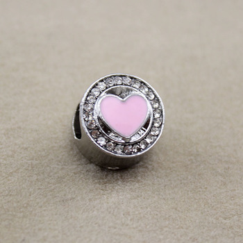 925 Sterling Silver Crystal Charm Fit Pandora Bracelet Necklace Diy pink heart Beads Jewelry