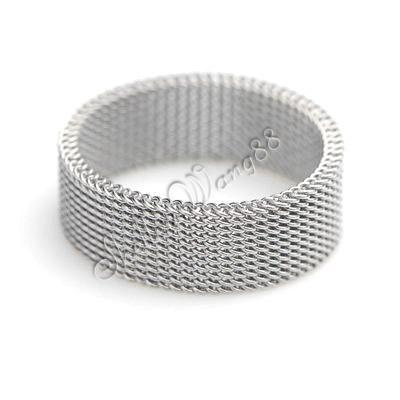 316L Stainless Steel Silver Link Chain Flexible Mesh 6mm Band Ring US Size 6.5
