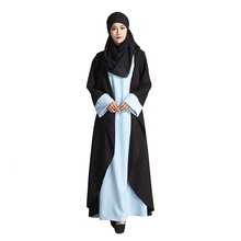 Fake two pieces Muslim Dress Islamic Women Abaya dresses picture jilbab clothes burka Lady turkish women clothing robe musulmane