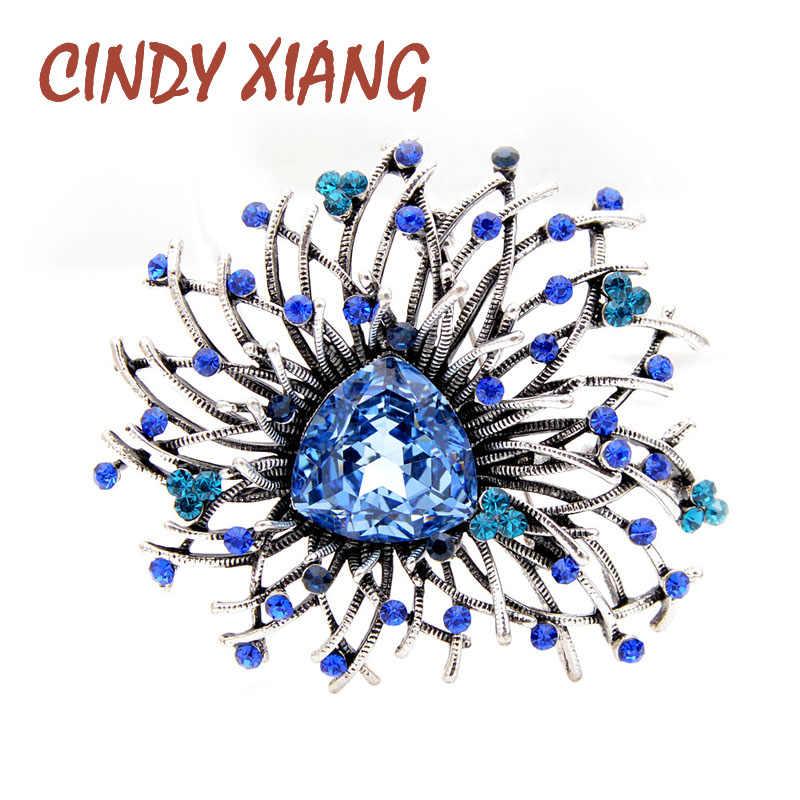 Cindy Xiang 2 Warna Avaiable Kristal Bersinar Bunga Bros Elegan Pernikahan Mantel Pin Musim Gugur Sytle Perhiasan Berkualitas Tinggi Mewah