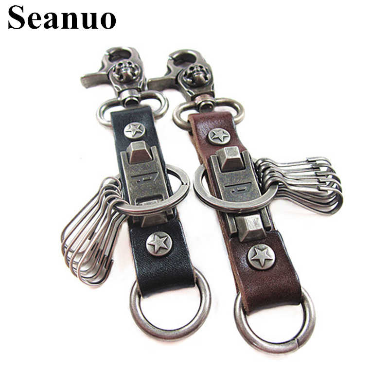 Seanuo Punk Genuine Leather Heavy Stainless Steel Door Keychain Key Chains  For Men Women Fashion Car 4622d37577