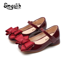 hot deal buy girls shoes kids 2018 spring princess dress party bowtie low heel leather shoes toddler child charm dance pink wedding shoes