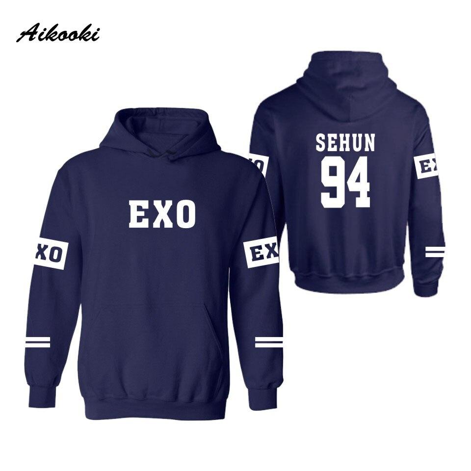 Aikooki EXO Kpop Hooded Women Men New fashion Autumn Winter Lay Luhan Kai Tao Suho Kris Chen Xiumin Sehun Baekhyun Chanyeol