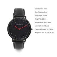 2017 Saat New Top Brand Luxury Simple Quartz Watch Men Casual Black Red 2 Hands Leather