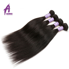 Malaysian Straight Human Hair Weave Bundles Alimice Non-Remy Hair Weaving 100% Hair Extensions 100g Double Weft Natural Color